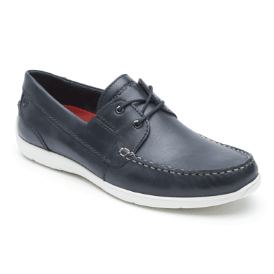 Rockport Cullen Boatshoe New Dress Blue Båtsko Blå Skinn Seglarsko Navy Marinblå