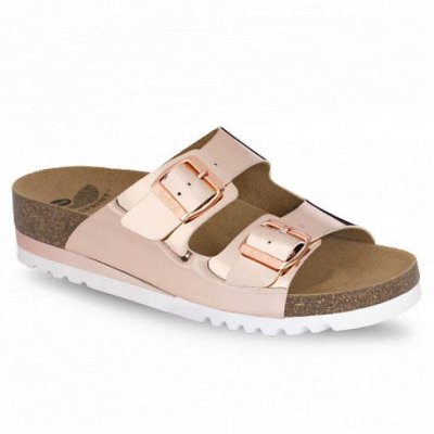 scholl glam rose metallic biosandal